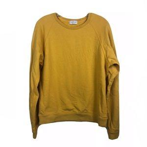 John Elliott Pique Solid Yellow Crewneck Sweatshirt Small